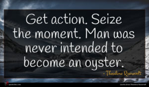 Theodore Roosevelt quote : Get action Seize the ...