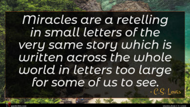 Photo of C.S. Lewis quote : Miracles are a retelling …