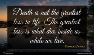 Norman Cousins quote : Death is not the ...