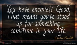 Winston Churchill quote : You have enemies Good ...