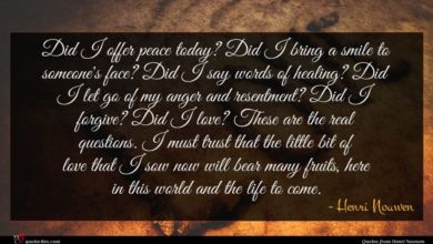 Photo of Henri Nouwen quote : Did I offer peace …