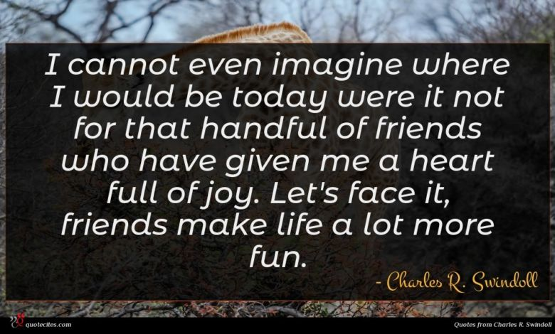 I cannot even imagine where I would be today were it not for that handful of friends who have given me a heart full of joy. Let's face it, friends make life a lot more fun.