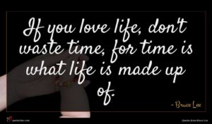 Bruce Lee quote : If you love life ...