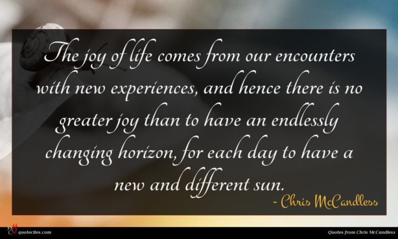 The joy of life comes from our encounters with new experiences, and hence there is no greater joy than to have an endlessly changing horizon, for each day to have a new and different sun.