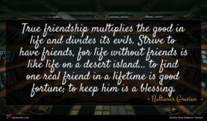 Baltasar Gracian quote : True friendship multiplies the ...