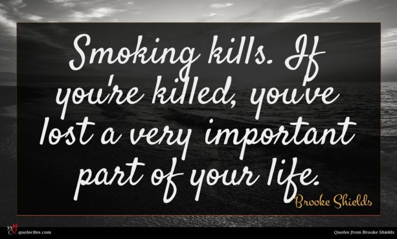 Smoking kills. If you're killed, you've lost a very important part of your life.