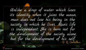 B. R. Ambedkar quote : Unlike a drop of ...