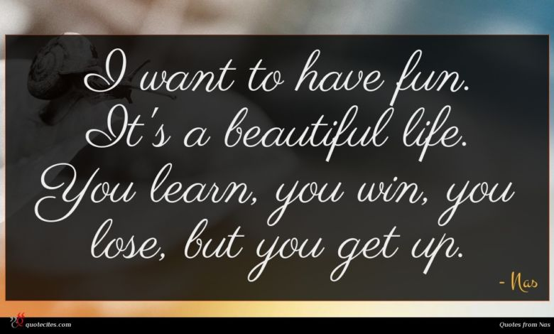 I want to have fun. It's a beautiful life. You learn, you win, you lose, but you get up.