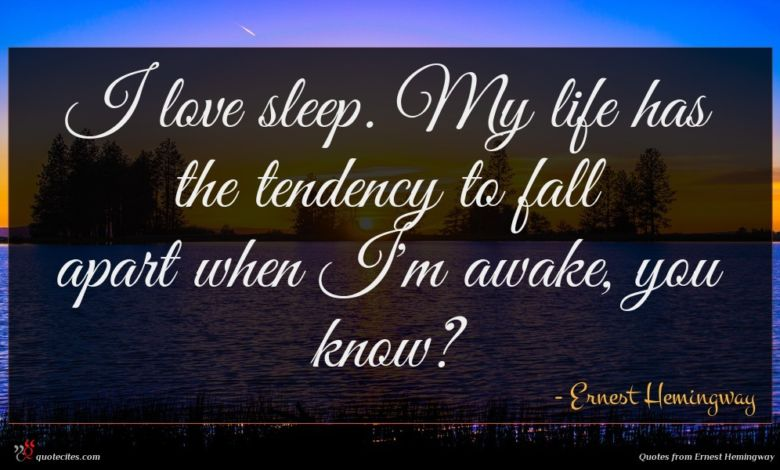 I love sleep. My life has the tendency to fall apart when I'm awake, you know?