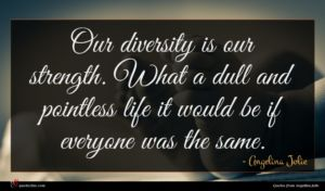 Angelina Jolie quote : Our diversity is our ...