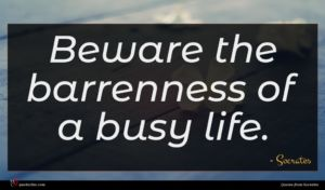 Socrates quote : Beware the barrenness of ...