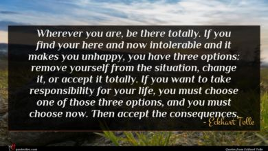 Photo of Eckhart Tolle quote : Wherever you are be …