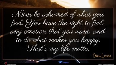 Photo of Demi Lovato quote : Never be ashamed of …