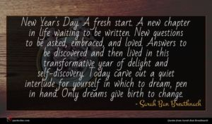 Sarah Ban Breathnach quote : New Year's Day A ...