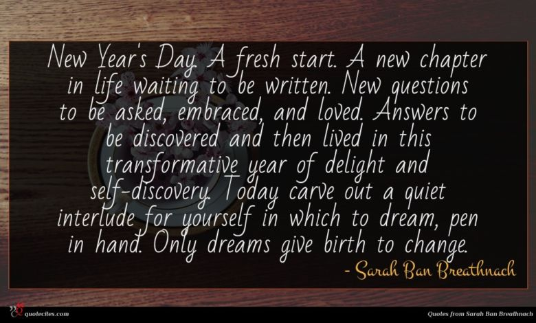 Photo of Sarah Ban Breathnach quote : New Year's Day A …