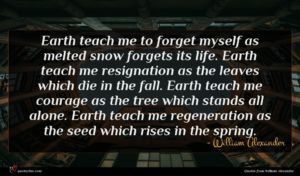 William Alexander quote : Earth teach me to ...