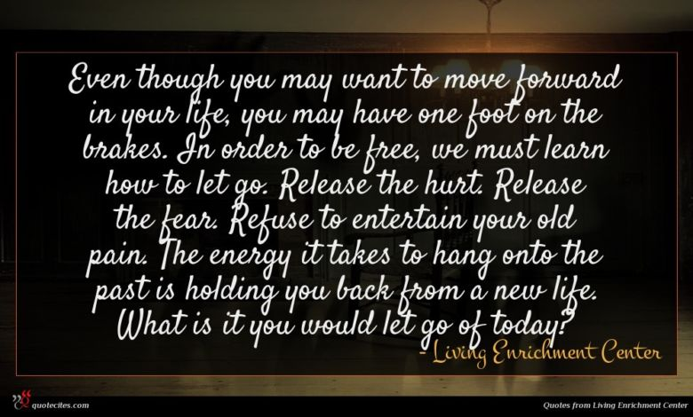 Even though you may want to move forward in your life, you may have one foot on the brakes. In order to be free, we must learn how to let go. Release the hurt. Release the fear. Refuse to entertain your old pain. The energy it takes to hang onto the past is holding you back from a new life. What is it you would let go of today?