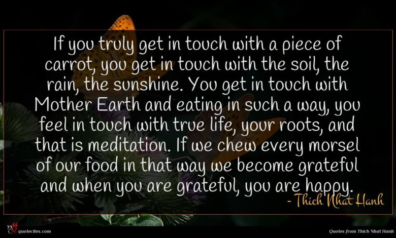 If you truly get in touch with a piece of carrot, you get in touch with the soil, the rain, the sunshine. You get in touch with Mother Earth and eating in such a way, you feel in touch with true life, your roots, and that is meditation. If we chew every morsel of our food in that way we become grateful and when you are grateful, you are happy.