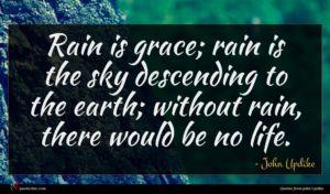 John Updike quote : Rain is grace rain ...