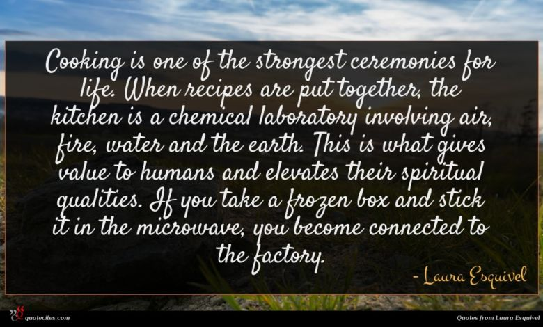 Cooking is one of the strongest ceremonies for life. When recipes are put together, the kitchen is a chemical laboratory involving air, fire, water and the earth. This is what gives value to humans and elevates their spiritual qualities. If you take a frozen box and stick it in the microwave, you become connected to the factory.