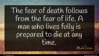 Photo of Mark Twain quote : The fear of death …
