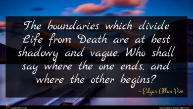 Photo of Edgar Allan Poe quote : The boundaries which divide …