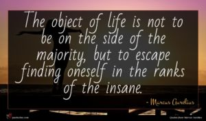 Marcus Aurelius quote : The object of life ...