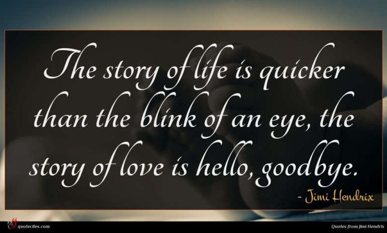 The story of life is quicker than the blink of an eye, the story of love is hello, goodbye.