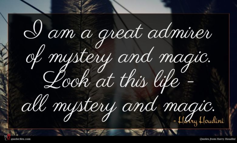 I am a great admirer of mystery and magic. Look at this life - all mystery and magic.