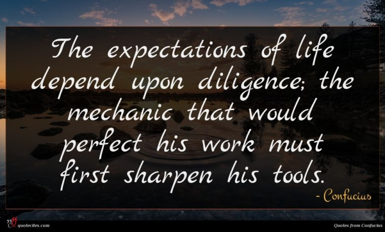 Photo of Confucius quote : The expectations of life …