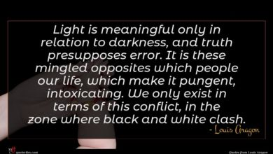 Photo of Louis Aragon quote : Light is meaningful only …
