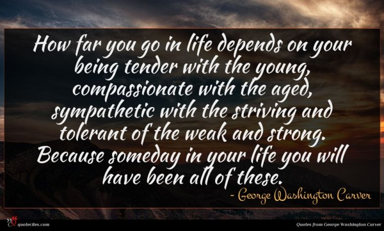Photo of George Washington Carver quote : How far you go …