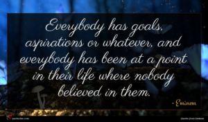 Eminem quote : Everybody has goals aspirations ...