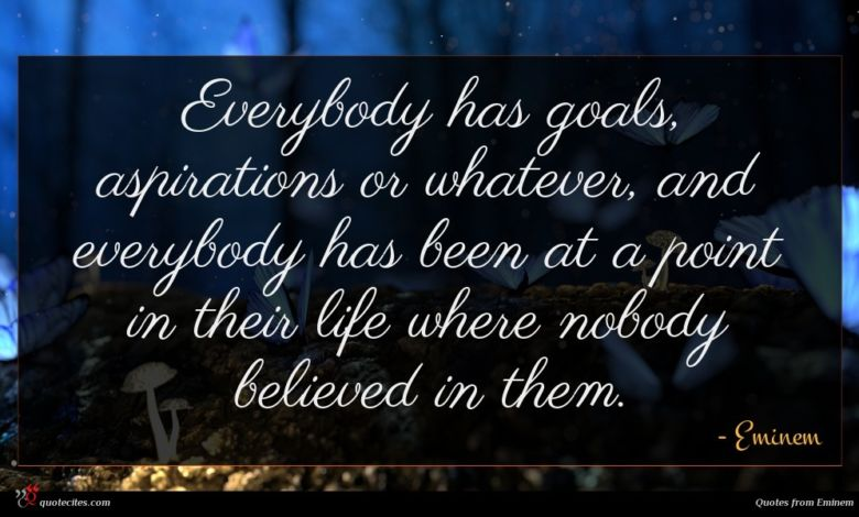 Everybody has goals, aspirations or whatever, and everybody has been at a point in their life where nobody believed in them.