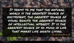 David Attenborough quote : It seems to me ...