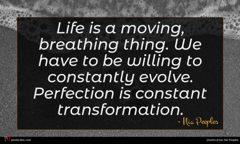 Life is a moving, breathing thing. We have to be willing to constantly evolve. Perfection is constant transformation.