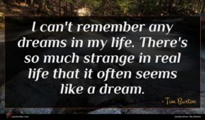 Tim Burton quote : I can't remember any ...