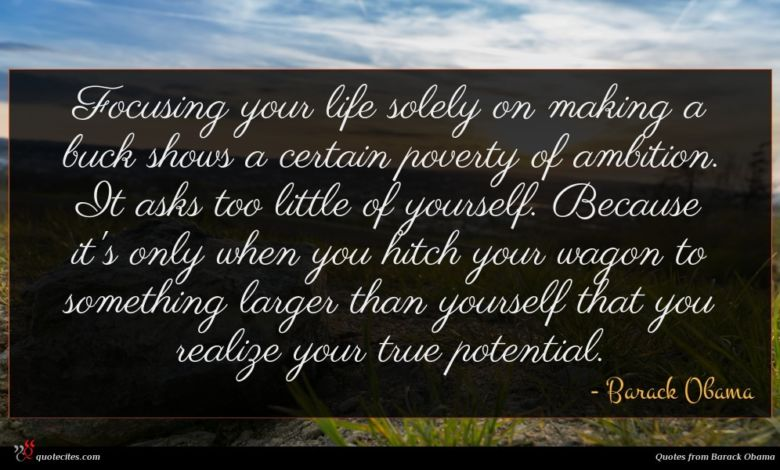 Focusing your life solely on making a buck shows a certain poverty of ambition. It asks too little of yourself. Because it's only when you hitch your wagon to something larger than yourself that you realize your true potential.