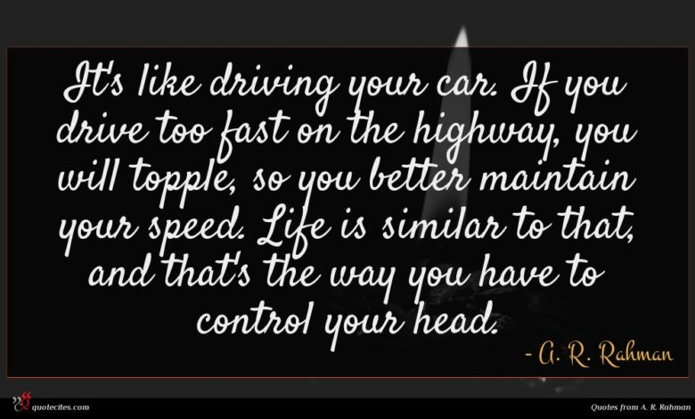 It's like driving your car. If you drive too fast on the highway, you will topple, so you better maintain your speed. Life is similar to that, and that's the way you have to control your head.