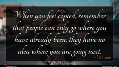 Photo of Liz Lange quote : When you feel copied …