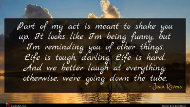 Photo of Joan Rivers quote : Part of my act …