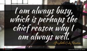 Elizabeth Cady Stanton quote : I am always busy ...
