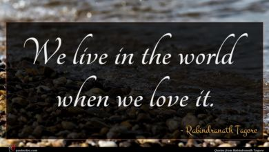 Photo of Rabindranath Tagore quote : We live in the …