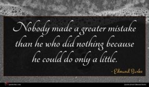 Edmund Burke quote : Nobody made a greater ...