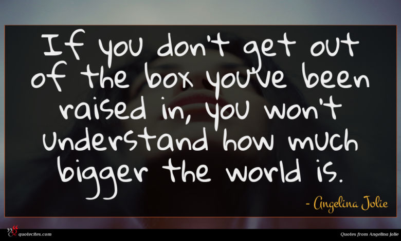 If you don't get out of the box you've been raised in, you won't understand how much bigger the world is.