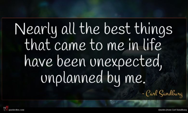 Nearly all the best things that came to me in life have been unexpected, unplanned by me.