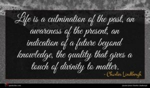 Charles Lindbergh quote : Life is a culmination ...