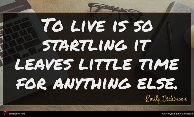 To live is so startling it leaves little time for anything else.