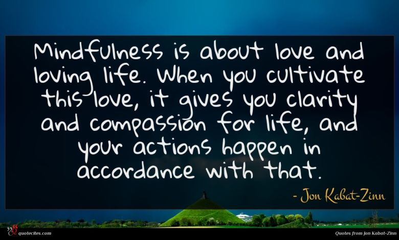 Mindfulness is about love and loving life. When you cultivate this love, it gives you clarity and compassion for life, and your actions happen in accordance with that.