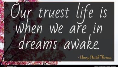 Photo of Henry David Thoreau quote : Our truest life is …